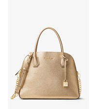 Mercer Large Metallic Leather Dome Satchel Pale Gold