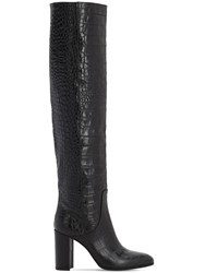Strategia 80Mm Croc Embossed Over The Knee Boots Black