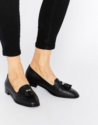 London Rebel Tassle Square Toe Loafers Black Croc