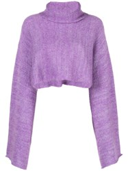 Sally Lapointe Cropped Bell Sleeves Jumper Purple
