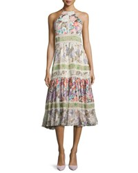 Rebecca Taylor Mixed Floral High Neck Sleeveless Midi Dress Multi