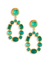 Gurhan Amulet Hue Emerald And 24K Yellow Gold Drop Earrings Gold Emerald