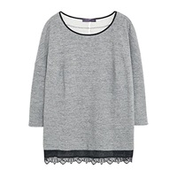 Violeta By Mango Lace Trim Sweatshirt Grey Marl
