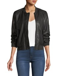 Majestic Zip Front Leather Bomber Jacket Noir