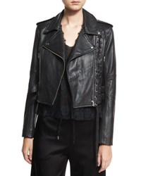 Mcq By Alexander Mcqueen Leather Moto Lace Up Jacket Black