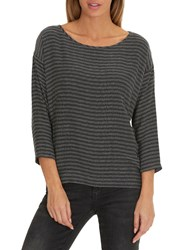 Betty And Co. Oversized Textured Top Black White