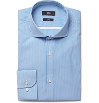 Hugo Boss Blue Jerrin Slim Fit Cutaway Collar Striped Cotton Poplin Shirt Blue