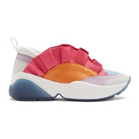 Emilio Pucci Orange And Pink Ruffled Jungle Joy Sneakers