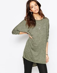 Influence Batwing Dip Back Top Green