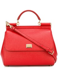 Dolce And Gabbana Large 'Sicily' Tote Red