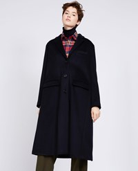 Aspesi Loro Piana Wool Coat Navy Blue