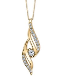 Sirena Diamond Twist 18 Pendant Necklace 1 4 Ct. T.W. Yellow Gold
