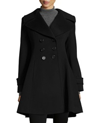 Fleurette Double Breasted A Line Wool Coat Black