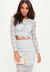 Missguided Grey Crochet Lace Long Sleeve Crop Top Green