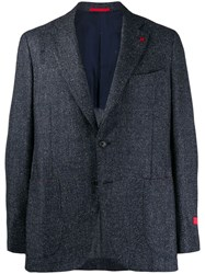 Isaia Classic Fitted Blazer Blue