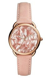 Fossil Tailor Leather Strap Watch 35Mm Pink Rose Gold