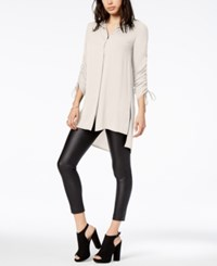 Bar Iii Ruched High Low Shirt Created For Macy's Egret