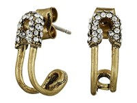 Marc Jacobs Safety Pin Strass Ear Hoop Earrings Crystal Antique Gold