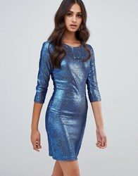 Girls On Film Sequin Bodycon Dress Blue