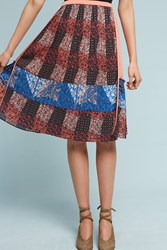 Anthropologie Pleated Patchwork Skirt Peach