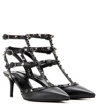 Valentino Rockstud Rolling Noir Leather Kitten Heel Pumps Black