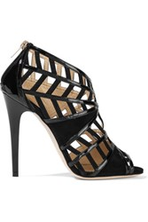 Jimmy Choo Vector Cutout Patent Leather And Suede Sandals Black