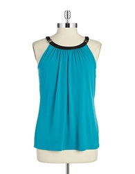 Calvin Klein Faux Leather Trimmed Halter Top Lagoon