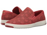 Cole Haan Grandpro Paisley Perf Slip On New Mineral Red Nubuck Women's Slip On Shoes