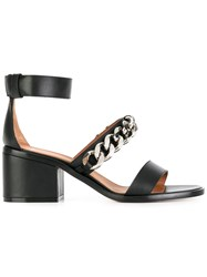 Givenchy Chain Strap Block Heel Sandals Black
