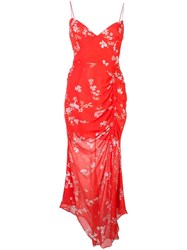 Nicholas Floral Print Ruched Dress Red