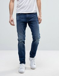 Esprit Relaxed Slim Fit Jeans With Distressing Mid Wash Blue