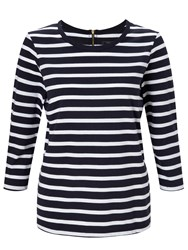 John Lewis Zip Back Breton Stripe Top Navy White