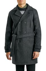 Men's Topman Charcoal Wool Blend Trench Coat
