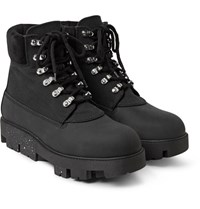 Acne Studios Suede Trimmed Canvas And Nubuck Hiking Boots Black