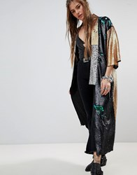 Native Rose Premium Kimono In Sequin Multii Premium Sequi
