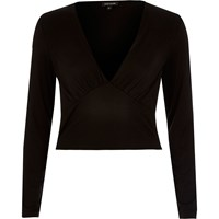 River Island Womens Black Plunge Neck Crop Top