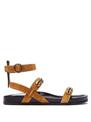 Etro Shell Embellished Suede Sandals Light Tan