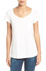 Women's Caslon Roll Edge Cap Sleeve Slub Knit Tee Ivory Cloud