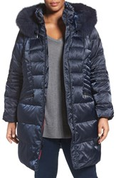 1 Madison Plus Size Women's Down And Feather Fill Coat With Genuine Fox Fur Trim Navy