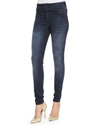 Rta Denim High Pleated Waist Skinny Jeans Dark Ink