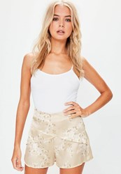 Missguided Gold Satin Blossom Print High Waisted Shorts Nude