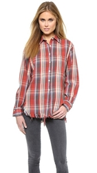 R 13 Shredded Plaid Shirt Vintage Red