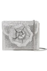 Oscar De La Renta Tro Crystal Embellished Leather Shoulder Bag Silver
