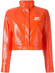 Courreges Vinyl Cropped Jacket Yellow And Orange