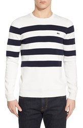 Men's Lacoste Stripe Crewneck Sweater Cliff Navy Blue