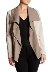 Soia And Kyo Genuine Suede Drape Jacket Beige