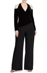 Lauren Ralph Lauren Plus Size Women's Stretch Velvet And Jersey Jumpsuit Black Black