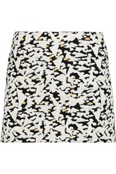 Sandro Janique Leather Trimmed Jacquard Knit Mini Skirt White