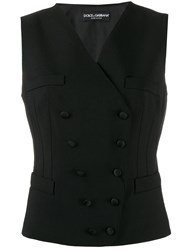 Dolce And Gabbana Double Breasted Waist Coat Black