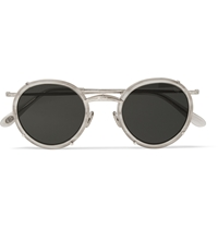 Eyevan 7285 Round Frame Silver Tone Sunglasses Brown